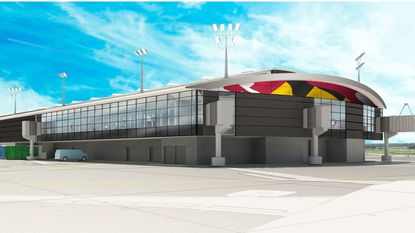 An exterior rendering of the proposed expansion of BWI Marshall Airport's Concourse A to accommodate Southwest Airline's growth.