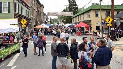 Large crowds gather on Main Street during the 8th Annual Art & Wine Festival in Sykesville on Sunday, May 6, 2018.