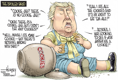 David Horsey: Trump gets caught with his hand in the cookie jar ...