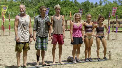 The crew -- Michael, Malcolm, Carter, Lisa, Abi and Denise -- lines up.