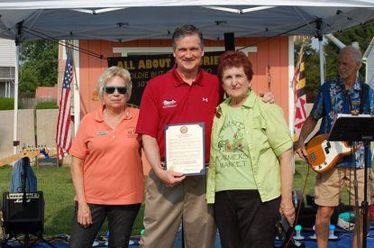 The Hampstead Farmers' Market closed its 10th season with a record number of visitors, 35,229, and received a special citation and proclamation from Maryland Gov. Larry Hogan's office and a Proclamation from the Town of Hampstead. Pictured, from left, are Manager Marlene Duff, Hampstead Mayor Christopher Nevin and Manager Sharon Callahan.