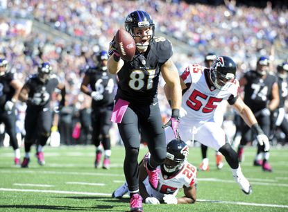 Ravens tight end Owen Daniels catches a touchdown in the first quarter against the Falcons at M&T Bank Stadium. The Ravens have thrived at the beginning of games this season.