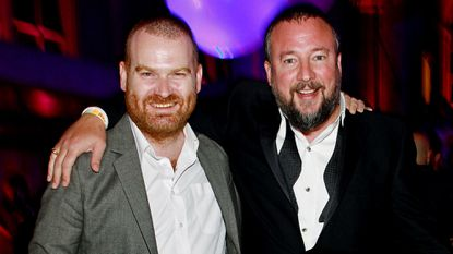 Andrew Creighton, left, president of Vice Media Group, and Shane Smith, founder of Vice, during the Vice.com Launch Party at Skylight One Hanson on Sept. 15, 2011, in Brooklyn, N.Y.