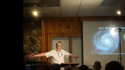 Nobel Prize-winning NASA astrophysicist John Mather addresses a meeting of the Westminster Astronomical Society on Wednesday, Oct. 10, 2018.