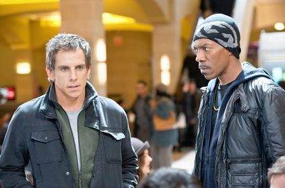 "Ben Stiller as building manager Josh gets a lesson from petty crook Slide (Eddie Murphy) in ""Tower Heist"", an action-comedy about working stiffs who seek revenge on the Wall Street swindler who stiffed them."