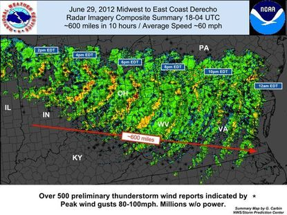 A composite of the path Friday's derecho storm took over 600 miles to Maryland.