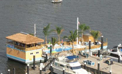 Overhead view of the Tiki Barge at Harborview