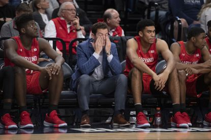 Maryland players react in the final seconds of a 76-69 loss to Penn State in State College, Pa., on Tuesday, Dec. 10, 2019.