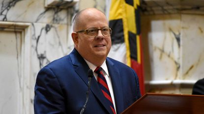 Gov. Larry Hogan delivers the State of the State address on Jan. 30, 2019, in the House of Delegates chamber in Annapolis.