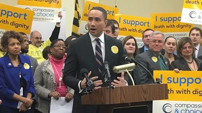 State Sen. Will Smith, a Montgomery County Democrat, speaks during a press conference earlier this year. He's been named chairman of the Senate's Judicial Proceedings Committee.