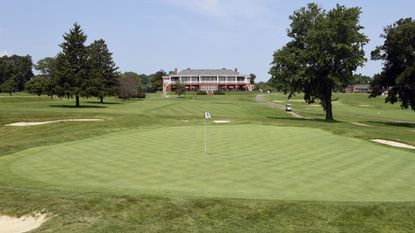 A view of Rolling Road Golf Club's club house from Hole #15.