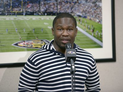 Ravens running back Justin Forsett addresses the media after signing with the Ravens in April.