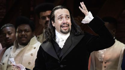 Lin-Manuel Miranda, composer and creator of the award-winning Broadway musical, Hamilton, offers a message of gratitude after receiving a standing ovation at the end of the play's premiere held at the Santurce Fine Arts Center, in San Juan, Puerto Rico, Friday, Jan. 11, 2019.