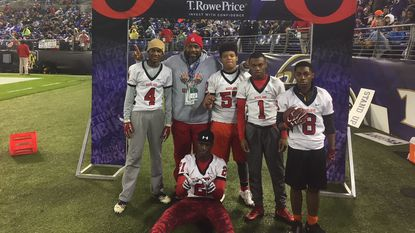 Woodlawn won the Ravens Halftime Combine with the fastest time of the 2017 season. Pictured are coach Elwood Townsend: Dorian Davenport (4), Christopher Proctor (57), Jarell Gainer (1), Armani Wilson (8) and, in front, Amir Renwick (21).