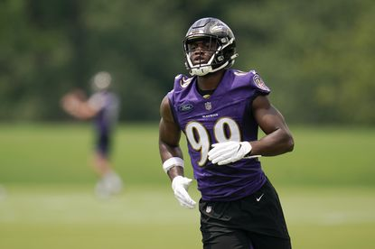 """How quickly can the Ravens expect help from their second first-round pick? They could certainly use a jolt in a position group that's shed more talent than any other on the roster over the past three years. Oweh is not a traditional, 10-sacks-or-bust outside linebacker. Though he runs remarkably well for a big man, his strength might be a greater asset early in his career. At Penn State, he played the run better than he rushed the quarterback, so he should fit with the Ravens' credo of edge setting. Defensive coordinator Don """"Wink"""" Martindale seems thrilled to work with such an unusual athlete, and it will be a week-to-week treat to see where he spots Oweh. That's the cool side of this experiment. On the tougher side of reality, the Ravens need an edge defender who can menace quarterbacks consistently, and it's not clear Oweh will be such a player anytime soon."""