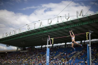 Jennifer Suhr competes in the women's pole vault during the IAAF Diamond League Grand Prix competition on Randall's Island in New York on June 14, 2014.