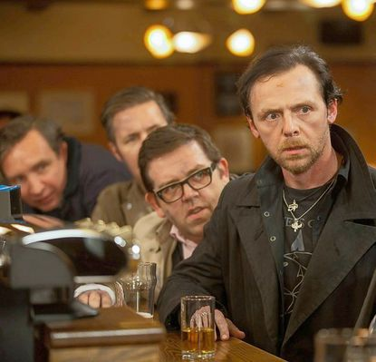 "Eddie Marsan, left, Paddy Considine, Nick Frost and Simon Pegg in ""The World's End."""