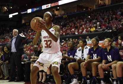 Maryland's Shatori Walker-Kimbrough shoots against Northwestern in the first half, Sunday, Jan. 17, 2016, in College Park.