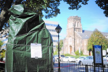 A new monument honoring soldiers who fought in Operations Desert Storm, Iraqi Freedom and Enduring Freedom will be dedicated Nov. 5. The monument, located on the north side of Towson's Historic Courthouse, was covered with a green tarp Oct. 11, and a sign on the monument announced the dedication date.