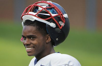 Franklin High School football player Steven Smothers during practice.