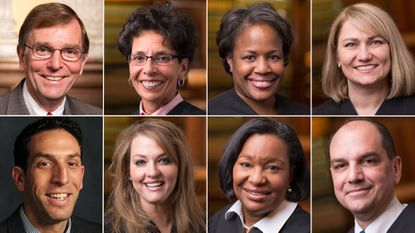 Left to right and top to bottom, the eight candidates who ran for six open judgeships in Baltimore Circuit Court: City Councilman James B. Kraft, Judge Audrey J.S. Carrion, Judge Cynthia H. Jones, Judge Shannon E. Avery, Todd Oppenheim (a public defender), Judge Karen Chaya Friedman, Judge Wanda Keyes Heard and Judge Michael A. DiPietro.