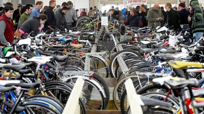 Visitors check out used bikes for sale during the Stop, Swap and Save bicycle expo in 2015 at the Carroll County Agriculture Center in Westminster. This year's event is set for Sunday, Feb. 11.