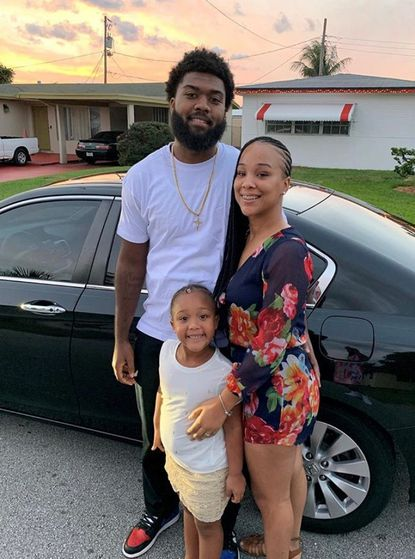 Morgan State linebacker Rico Kennedy with his wife Destinee and 6-year-old daughter Iyanna. Kennedy his balancing family and football while leading the Bears' defense.