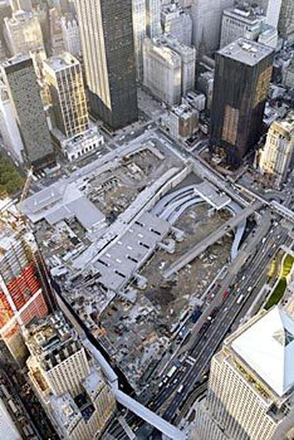 An aerial view shows the footprint of the World Trade Center site in Manhattan.