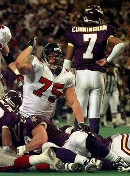 Atlanta Falcons defensive tackle Shane Dronett (75) celebrates after the Falcons recovered a fumble by Minnesota Vikings quarterback Randall Cunningham during the second quarter of the NFC championship game in 1999. Dronett, who played 10 years in the NFL, was found dead at his home on Jan. 21, 2009. He was 38.