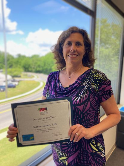 Karen Sarno, Supervisor of Food Services for Carroll County Public Schools, is the recipient of the 2019-2020 Director of the Year Award presented by the Maryland School Nutrition Association.