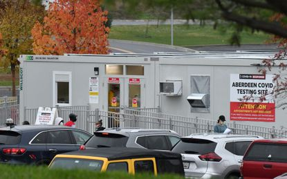 People patiently wait outside the Aberdeen COVID-19 testing site earlier this month. Appointments are required to be tested at the facility which is located on the grounds of the new Upper Chesapeake Medical Center Aberdeen Campus on Route 22.