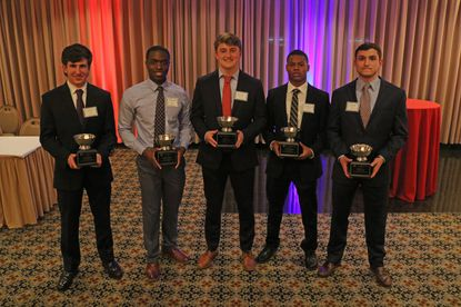From left, Westminster's Evan Warren, Randallstown's Michael Anoruo, Calvert Hall's Peter Moore, Parkville's Noah Hambrick and Glenelg's Andrew Sotka were selected as scholarship winners for the 57th Annual Scholar Athlete Awards Dinner on March 4, 2020.