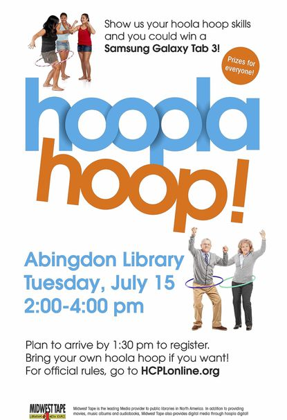 Abingdon Library to present Hoopla Hoop Contest on July 15