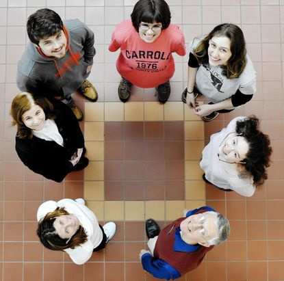 Carroll Community College Math Team members, clockwise, from left, Janice Stencil and Elizabeth Bush, both faculty advisors, students Shawn Sweep, Megan Bittner, Hannah Neuenhoff, Katy Leatherwood and faculty advisor Tom Shields will compete on Saturday, April 22 as Carroll Community College hosts its first Student Mathematics Mid-Atlantic Regional Tournament.