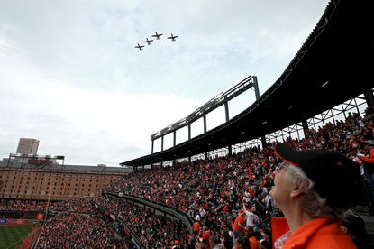 BALTIMORE, MD - APRIL 03: A flyover occurs before the Toronto Blue Jays play the Baltimore Orioles before their Opening Day game at Oriole Park at Camden Yards on April 3, 2017 in Baltimore, Maryland