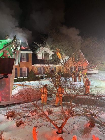 A Sunday night house fire in the 1800 block of Gillis Falls Road in Woodbine displaced a family of four.