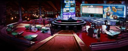 This is a rendering of a casino gaming lounge of the future by Gamblit Gaming, a technology provider based in Glendale, Calif.