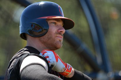 Orioles infielder Chris Davis at the batting cage during spring training at the Ed Smith Stadium complexonFeb. 26, 2016.