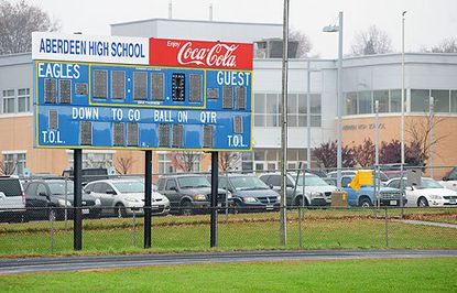 The Harford County Board of Education declined Monday to consider Superintendent Robert Tomback's recommendation to accept a $20,000 donation from NFL players E.J. and Erin Henderson for a new electronic scoreboard at Aberdeen High School.