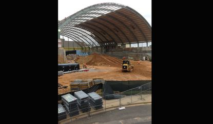 Construction continues on Cole Field House in College Park as the University of Maryland alters its former home to Terps basketball to its new use: an indoor football training center.