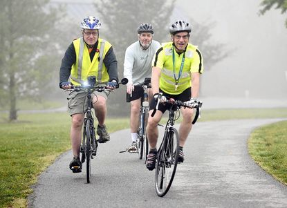 Left to right, Marty Cohen, Meadowwood, Hershel Schabes, Ranchleigh, and Steve Pinson, Pikesville ride in Meadowood Regional Park in Lutherville-Timonium.