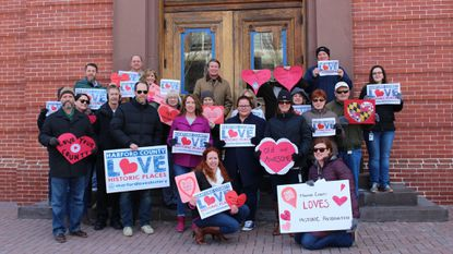 This Valentine's Day, Harford County is participating in a national social media movement to show love for historic places. County Executive Barry Glassman and county staff members show their #HarfordLovesHistory photo valentine on the steps of the historic courthouse in Bel Air.