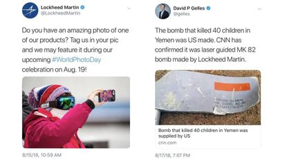 """In a now-deleted tweet, Lockheed put out a call for """"an amazing photo of one of our products"""" Wednesday morning to be featured on its World Photo Day celebration Sunday. ON Saturday, CNN learned that the bomb that killed 40 children in Yemen was manufactured by Lockheed."""