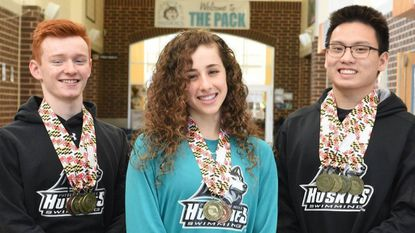 Patterson Mill High School swimmers, from left, Jack Leary, Katerina Lomis and Alan Nguyen, all brought home a few state champion gold medals from the state championships swim meet over the weekend.