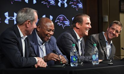Ravens team president Dick Cass, from left, GM Ozzie Newsome, owner Steve Bisciotti and head coach John Harbaugh, share laugh during the final news conference of the year at the Under Armour Performance Center.