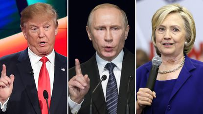 Donald Trump, Russian President Vladimir Putinand Hillary Clinton