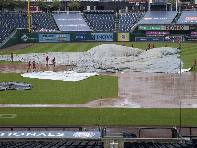 Sundayâs Orioles-Nationals game suspended, to resume Friday in Baltimore after tarp problems cause lengthy delay