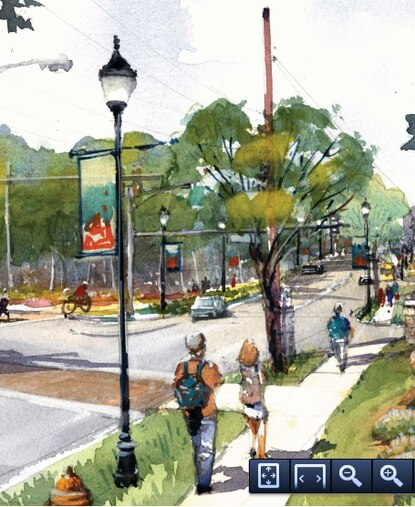 An illustration from the final draft of the Clarksville Pike design guidelines imagines what the corridor could look like in the future.