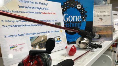 The Mountain Road Library is one of two in Anne Arundel that has fishing rods and gear to loan as part of a partnership program with the Maryland Department of Natural Resources.