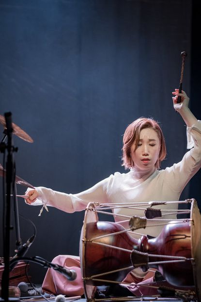 Percussionist Kim So Ra performs at the Creative Alliance on Friday.